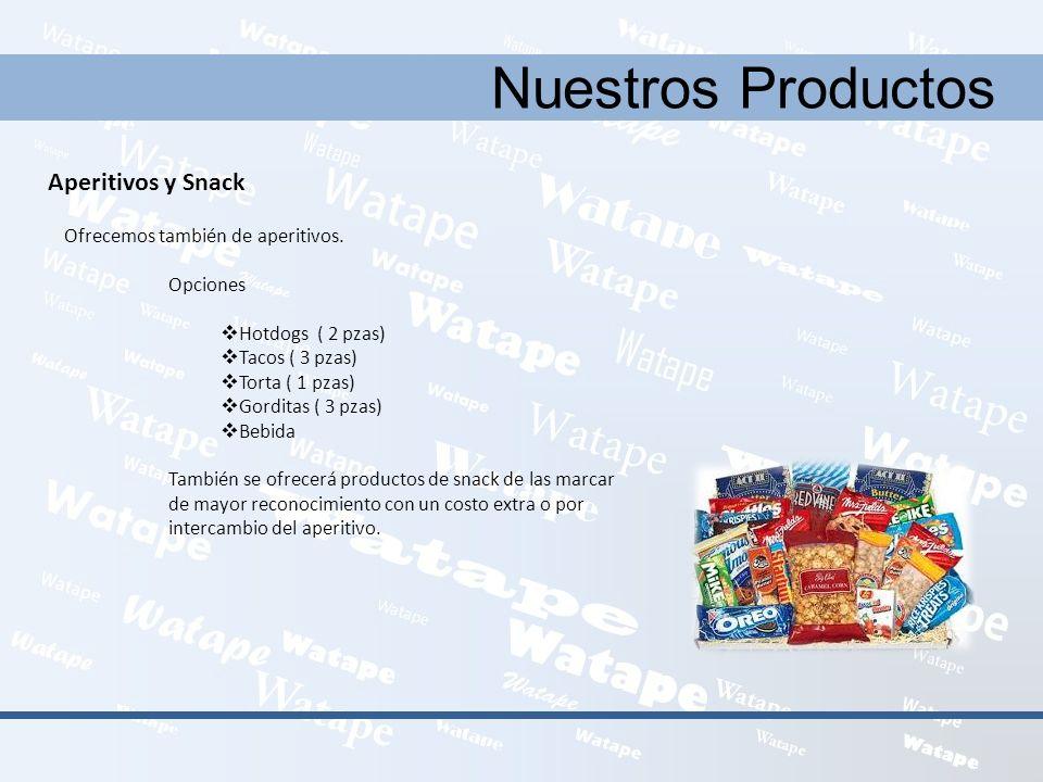Nuestros Productos Aperitivos y Snack Ofrecemos también de aperitivos. Opciones Hotdogs ( 2 pzas) Tacos ( 3 pzas) Torta ( 1 pzas) Gorditas ( 3 pzas) B
