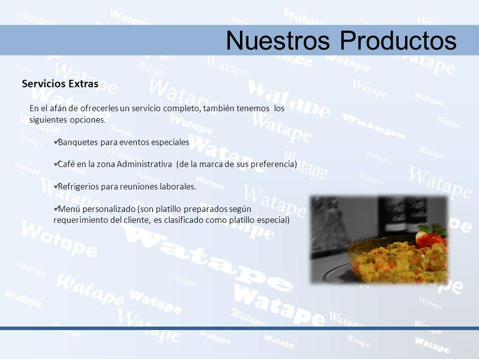 Nuestros Productos Servicios Extras En el afán de ofrecerles un servicio completo, también tenemos los siguientes opciones. Banquetes para eventos esp