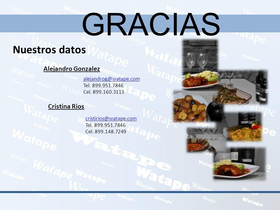 GRACIAS Nuestros datos Alejandro Gonzalez alejandrog@watape.com Tel. 899.951.7846 Cel. 899.160.3113 Cristina Rios cristirios@watape.com Tel. 899.951.7