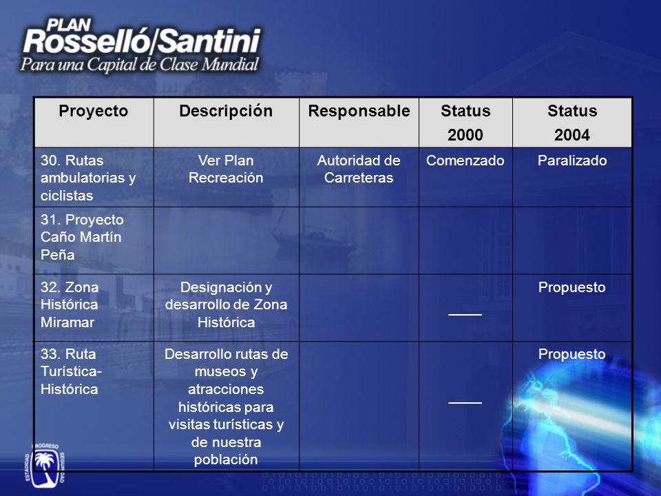 ProyectoDescripciónResponsableStatus 2000 Status 2004 30.