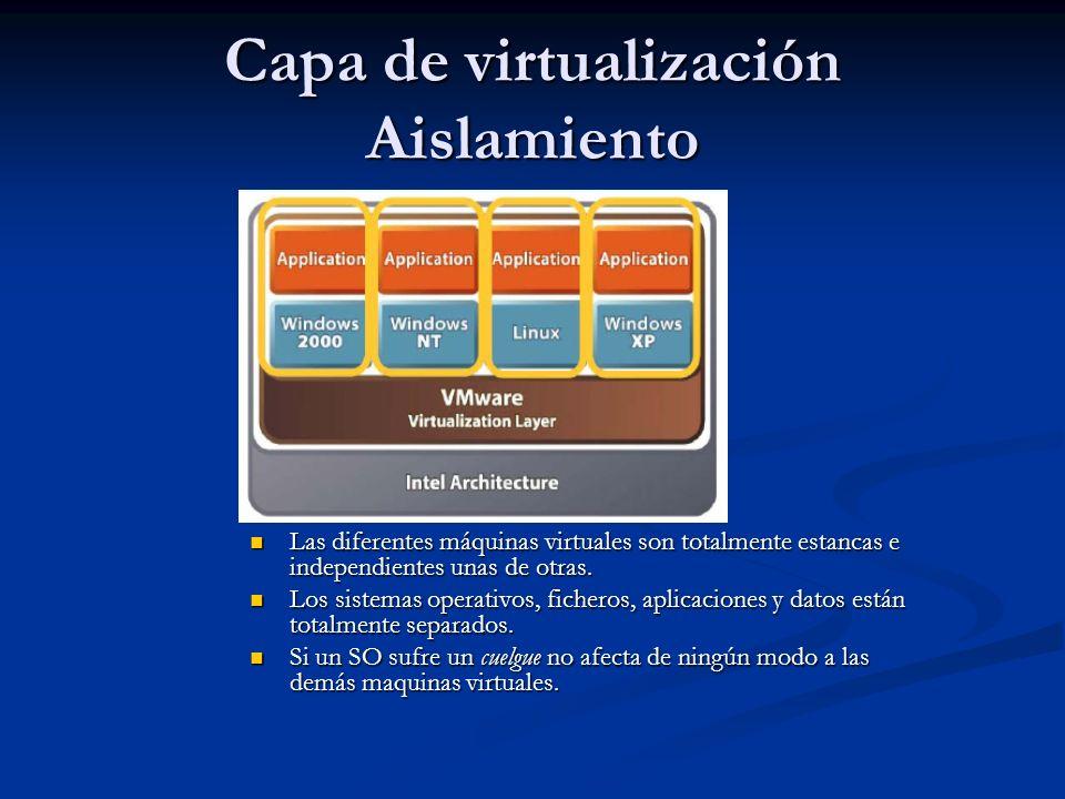Capa de virtualización Aislamiento Las diferentes máquinas virtuales son totalmente estancas e independientes unas de otras.