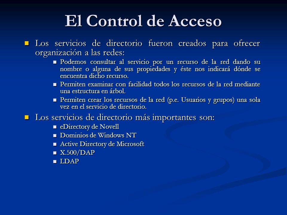 El Control de Acceso Los servicios de directorio fueron creados para ofrecer organización a las redes: Los servicios de directorio fueron creados para