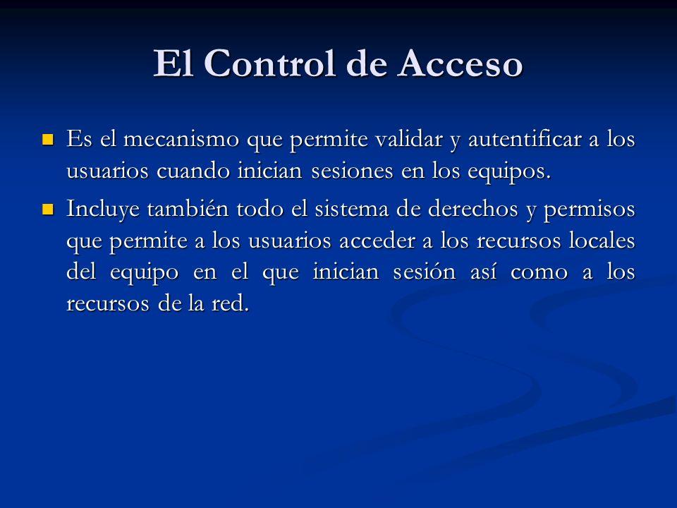 El Control de Acceso Es el mecanismo que permite validar y autentificar a los usuarios cuando inician sesiones en los equipos.