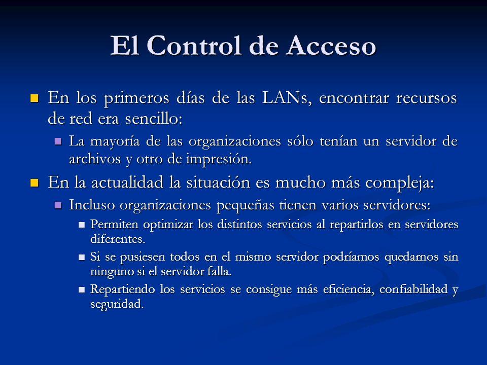 El Control de Acceso En los primeros días de las LANs, encontrar recursos de red era sencillo: En los primeros días de las LANs, encontrar recursos de red era sencillo: La mayoría de las organizaciones sólo tenían un servidor de archivos y otro de impresión.