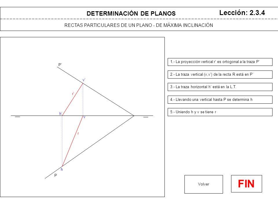 DETERMINACIÓN DE PLANOS RECTAS PARTICULARES DE UN PLANO - DE MÁXIMA INCLINACIÓN Lección: 2.3.4 1.- La proyección vertical r es ortogonal a la traza P Volver FIN P P 2.- La traza vertical (v,v) de la recta R está en P h h 3.- La traza horizontal h está en la L.T.