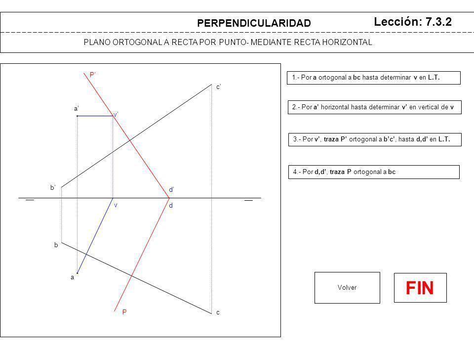 a a b b c c v v P P d d PLANO ORTOGONAL A RECTA POR PUNTO- MEDIANTE RECTA HORIZONTAL Lección: 7.3.2 1.- Por a ortogonal a bc hasta determinar v en L.T.