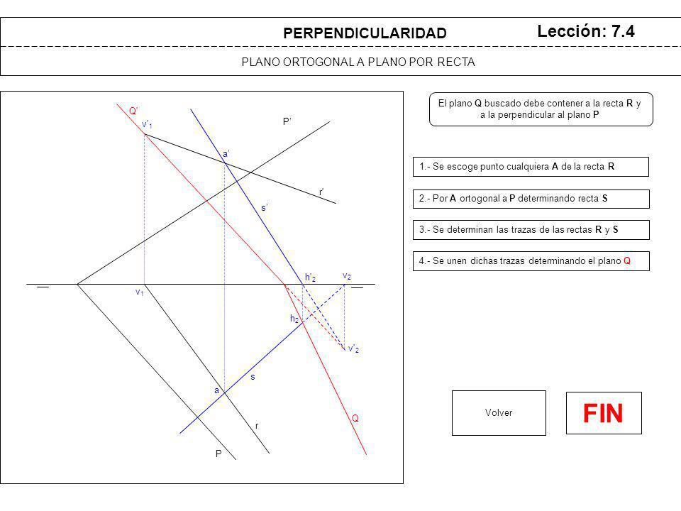 a a P P PLANO ORTOGONAL A PLANO POR RECTA Lección: 7.4 1.- Se escoge punto cualquiera A de la recta R 2.- Por A ortogonal a P determinando recta S Volver s s PERPENDICULARIDAD r r v 1 v1v1 v 2 v2v2 h 2 h2h2 Q Q El plano Q buscado debe contener a la recta R y a la perpendicular al plano P 3.- Se determinan las trazas de las rectas R y S 4.- Se unen dichas trazas determinando el plano Q FIN