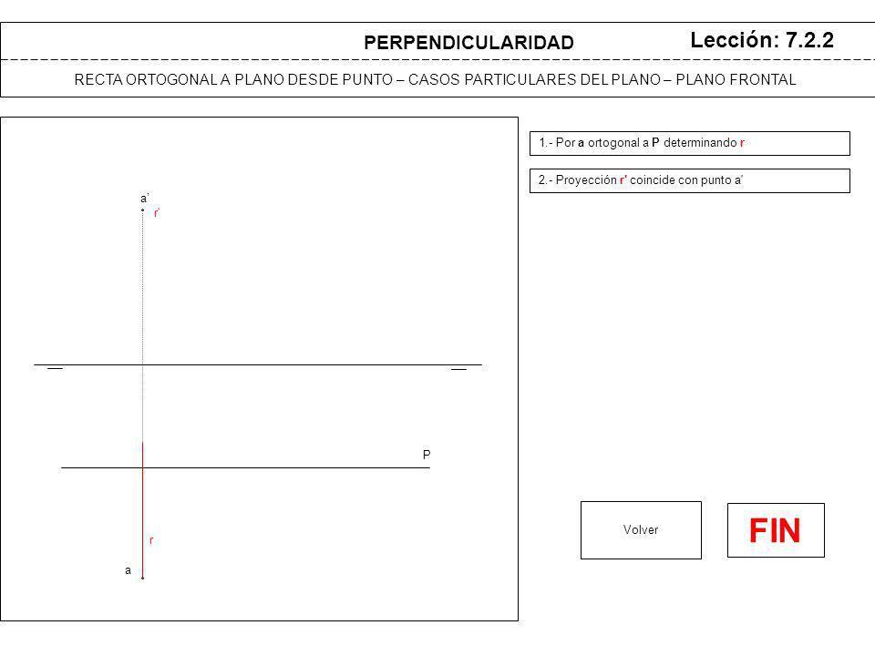 a a P Lección: 7.2.2 1.- Por a ortogonal a P determinando r 2.- Proyección r coincide con punto a Volver r r RECTA ORTOGONAL A PLANO DESDE PUNTO – CASOS PARTICULARES DEL PLANO – PLANO FRONTAL PERPENDICULARIDAD FIN