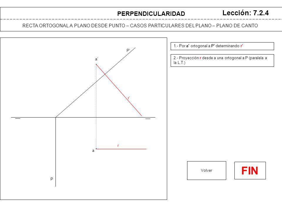 a a P Lección: 7.2.5 1.- Para determinar r , por a ortogonal a P (paralela a la L.T.) 2.- Para determinar r, por a ortogonal a P (paralela a la L.T.) Volver r r RECTA ORTOGONAL A PLANO DESDE PUNTO – CASOS PARTICULARES DEL PLANO – PLANO DE PERFIL P PERPENDICULARIDAD FIN