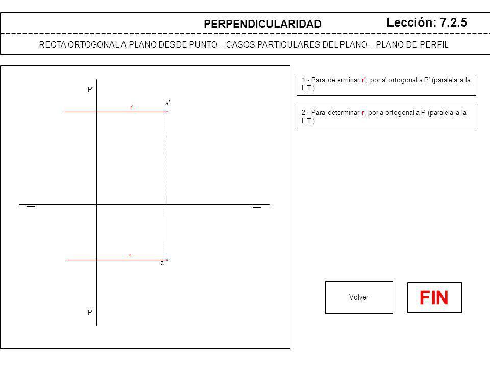 a a P Lección: 7.2.6 1.- Se traza plano auxiliar Q de perfil, por punto A Volver RECTA ORTOGONAL A PLANO DESDE PUNTO – CASOS PARTICULARES DEL PLANO – PLANO PARALELO A LA LINEA DE TIERRA P PERPENDICULARIDAD h (A) (B) (V) v v h (R) (H) b b Q Q 2.- Se abate recta R, intersección de P y Q 3.- Se abate punto A con misma charnela 4.- Se traza desde (A) recta ortogonal a recta (R) 5.- Se determina un punto de la recta abatida.
