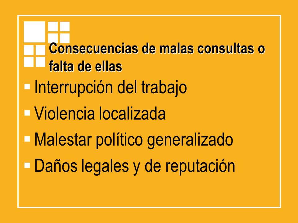 Consecuencias de malas consultas o falta de ellas Interrupción del trabajo Violencia localizada Malestar político generalizado Daños legales y de repu