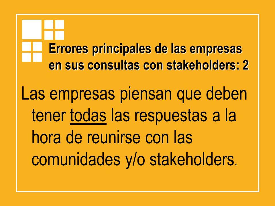 Errores principales de las empresas en sus consultas con stakeholders: 2 Las empresas piensan que deben tener todas las respuestas a la hora de reunir