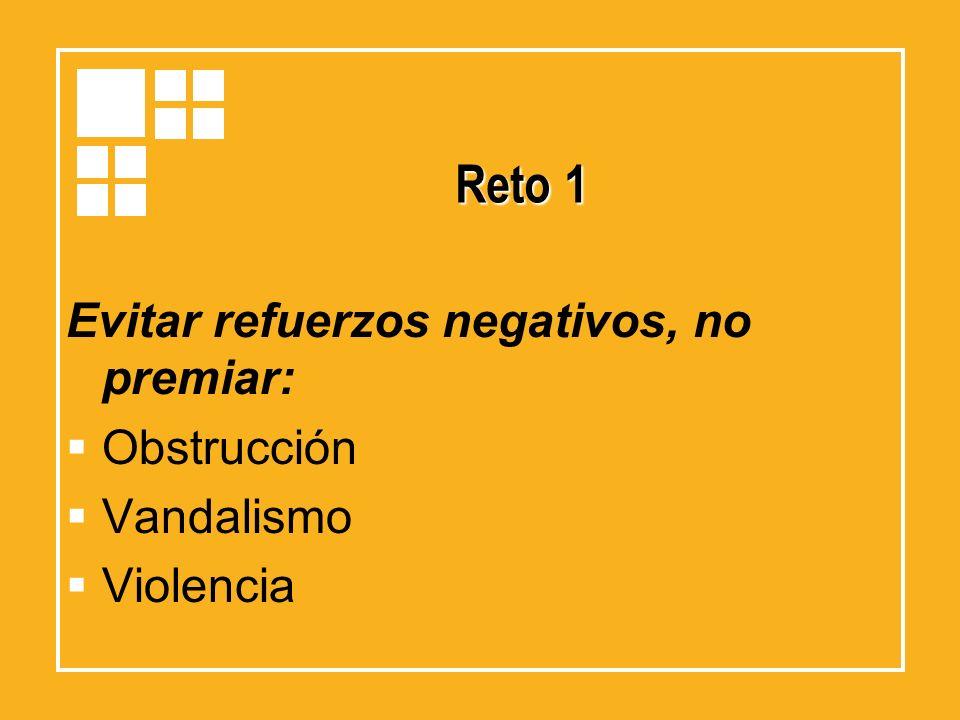 Reto 1 Evitar refuerzos negativos, no premiar: Obstrucción Vandalismo Violencia