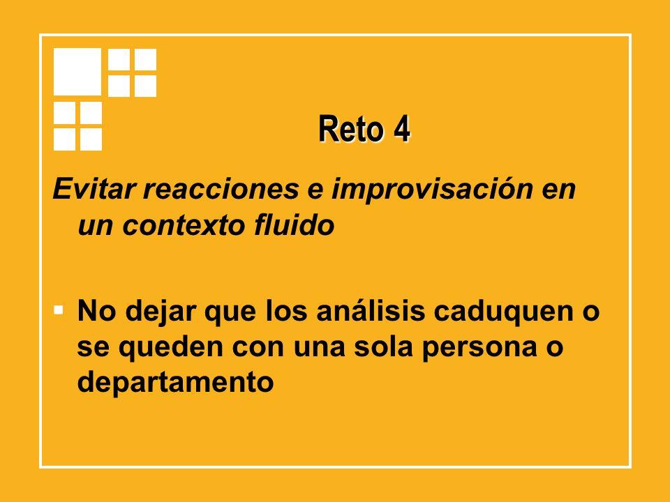 Reto 4 Evitar reacciones e improvisación en un contexto fluido No dejar que los análisis caduquen o se queden con una sola persona o departamento
