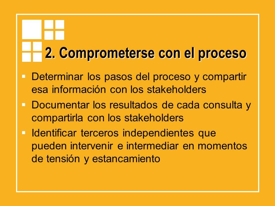 2. Comprometerse con el proceso Determinar los pasos del proceso y compartir esa información con los stakeholders Documentar los resultados de cada co