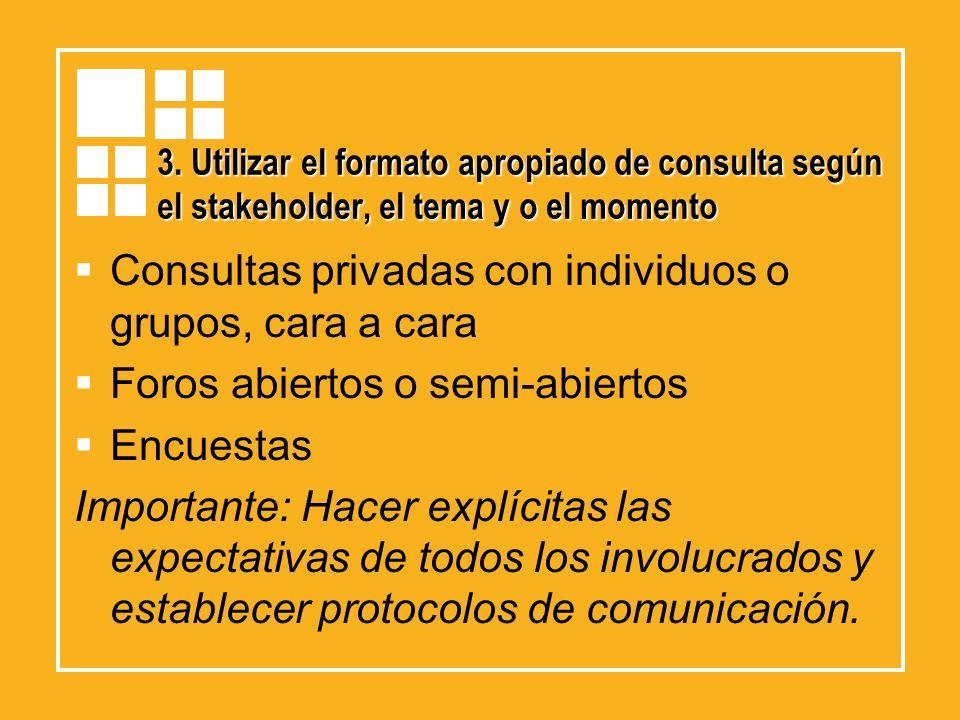 3. Utilizar el formato apropiado de consulta según el stakeholder, el tema y o el momento Consultas privadas con individuos o grupos, cara a cara Foro