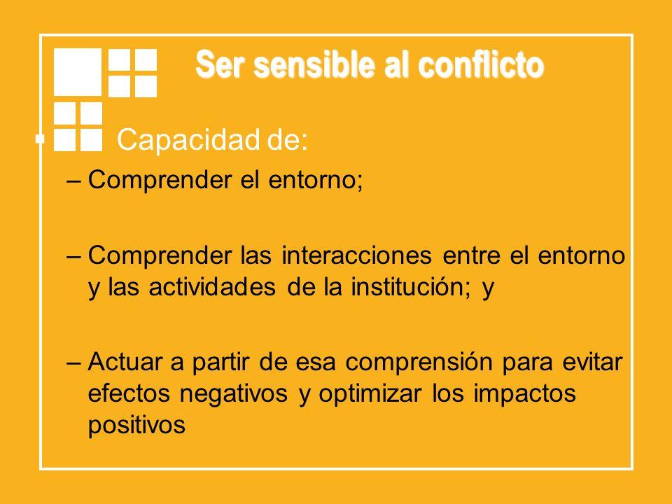 Ser sensible al conflicto Capacidad de: –Comprender el entorno; –Comprender las interacciones entre el entorno y las actividades de la institución; y