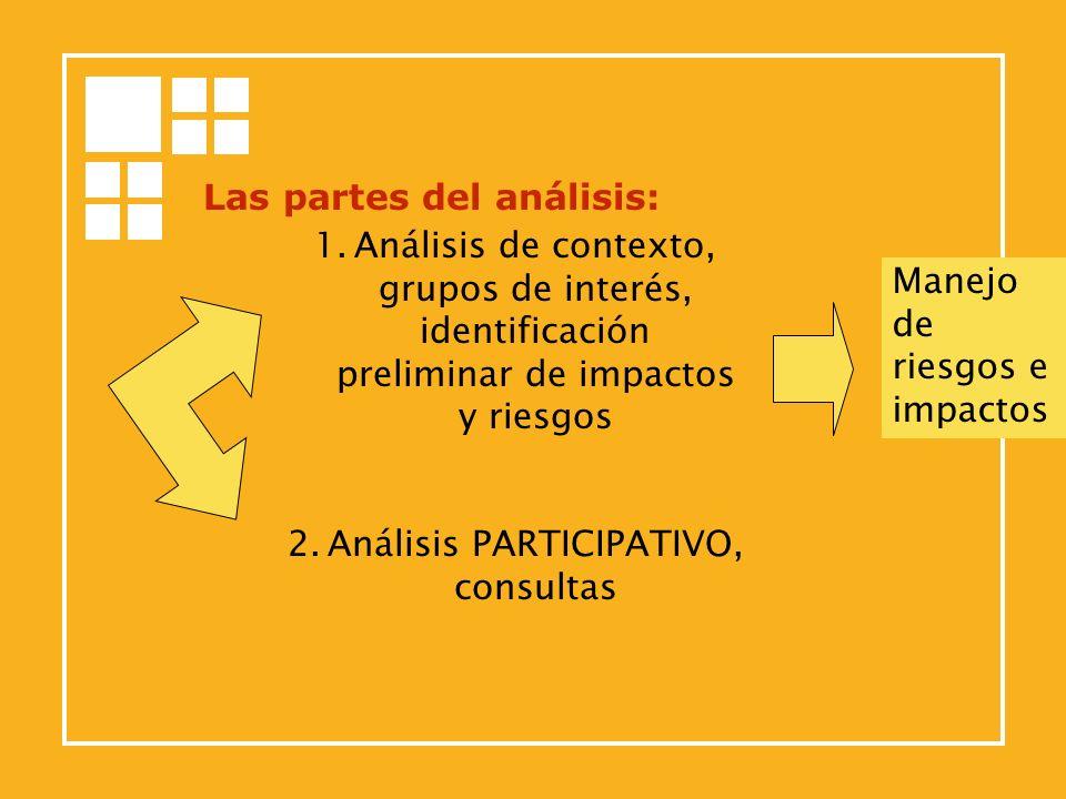 Las partes del análisis: 1.Análisis de contexto, grupos de interés, identificación preliminar de impactos y riesgos 2.Análisis PARTICIPATIVO, consulta