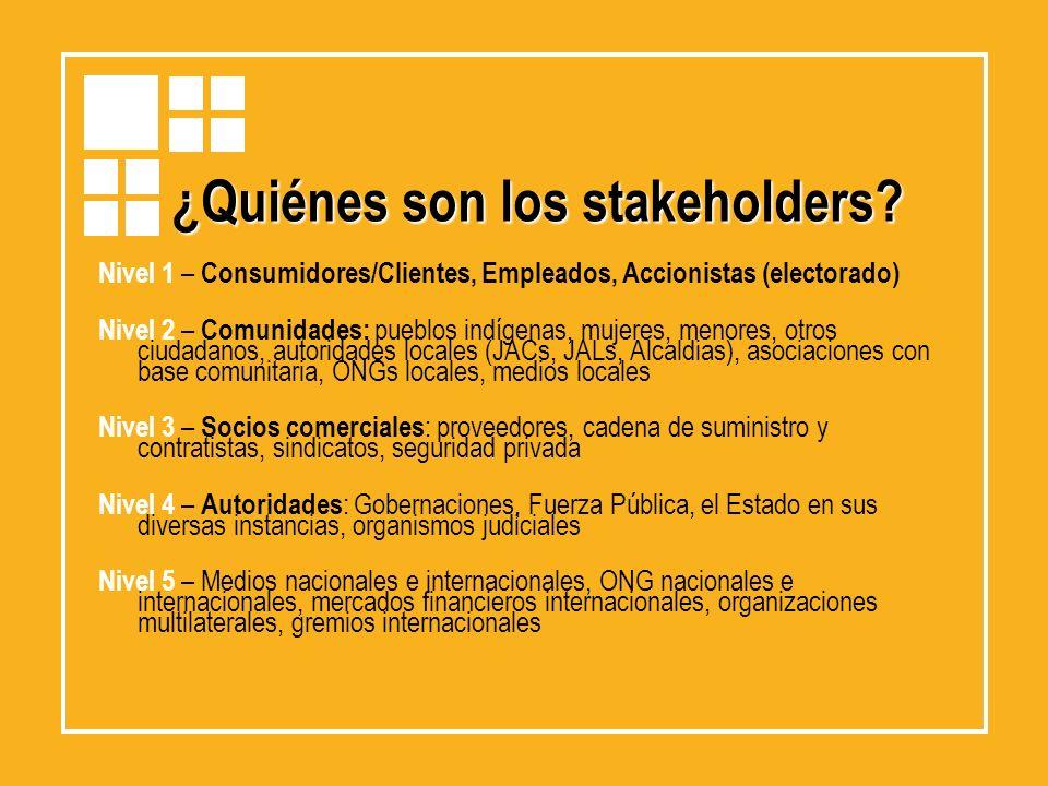 Nivel 1 – Consumidores/Clientes, Empleados, Accionistas (electorado) Nivel 2 – Comunidades: pueblos indígenas, mujeres, menores, otros ciudadanos, aut