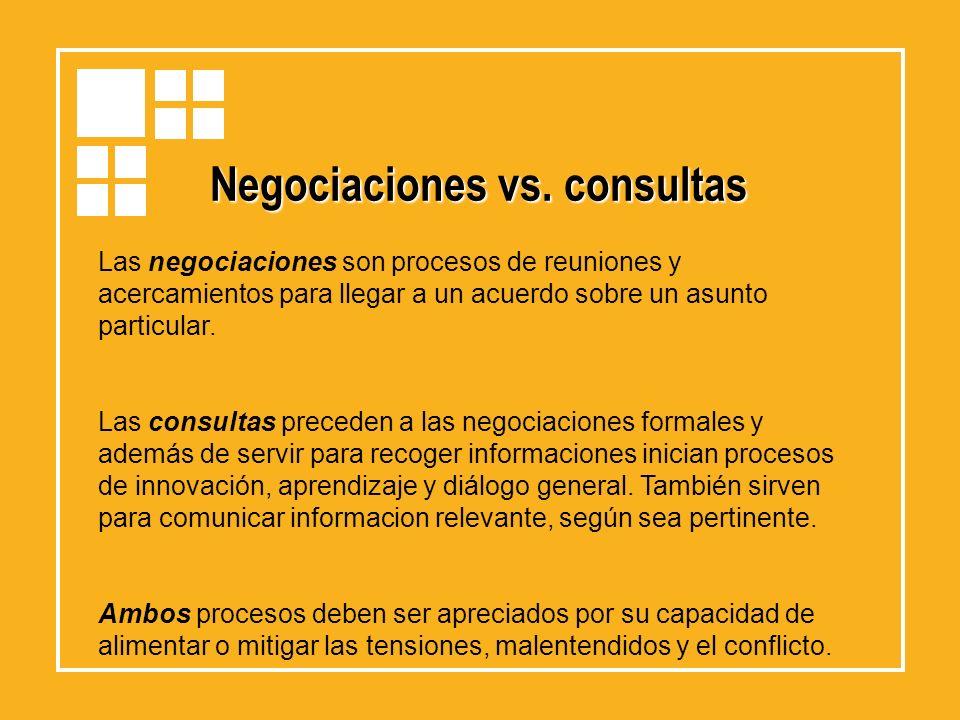 Negociaciones vs. consultas Las negociaciones son procesos de reuniones y acercamientos para llegar a un acuerdo sobre un asunto particular. Las consu