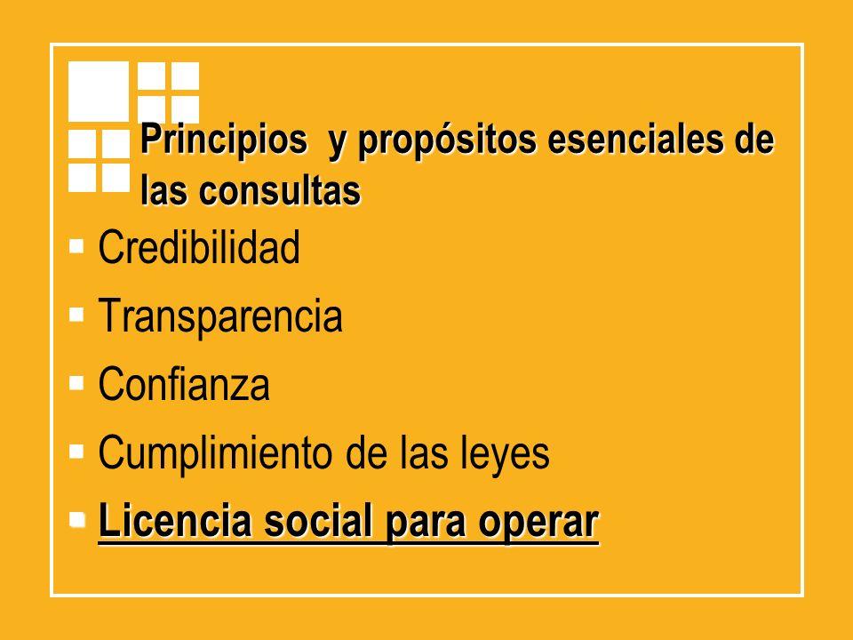 Principios y propósitos esenciales de las consultas Credibilidad Transparencia Confianza Cumplimiento de las leyes Licencia social para operar Licenci