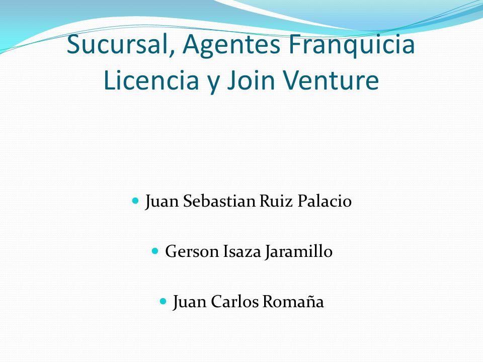 Sucursal, Agentes Franquicia Licencia y Join Venture Juan Sebastian Ruiz Palacio Gerson Isaza Jaramillo Juan Carlos Romaña