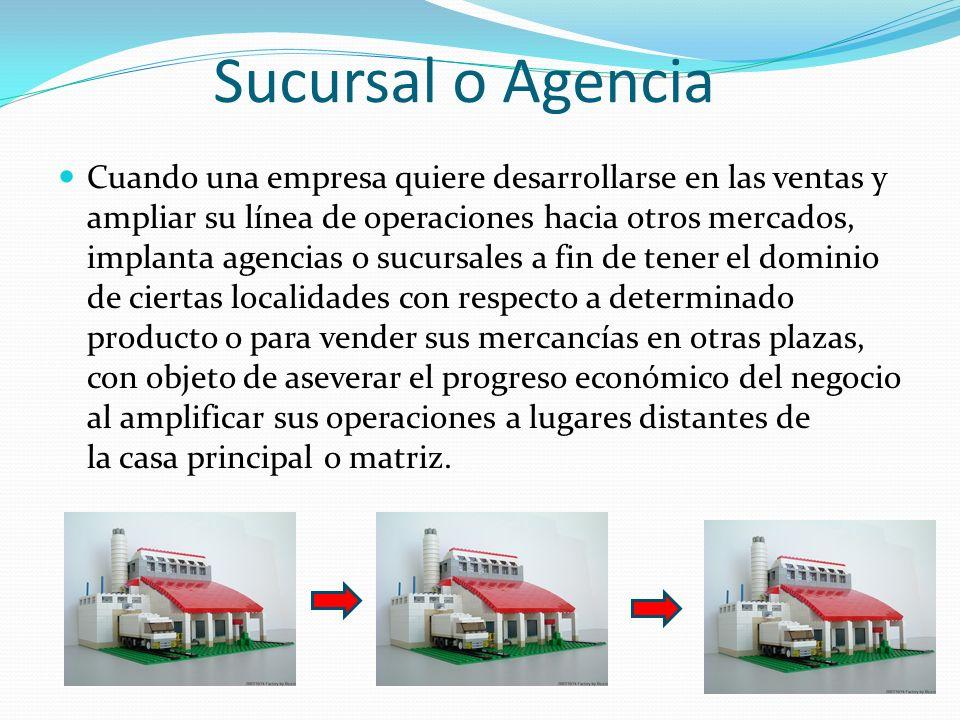 Sucursal o Agencia Cuando una empresa quiere desarrollarse en las ventas y ampliar su línea de operaciones hacia otros mercados, implanta agencias o s