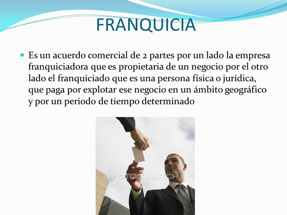 FRANQUICIA Es un acuerdo comercial de 2 partes por un lado la empresa franquiciadora que es propietaria de un negocio por el otro lado el franquiciado