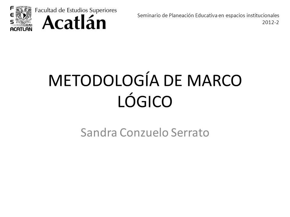 METODOLOGÍA DE MARCO LÓGICO Sandra Conzuelo Serrato Seminario de Planeación Educativa en espacios institucionales 2012-2