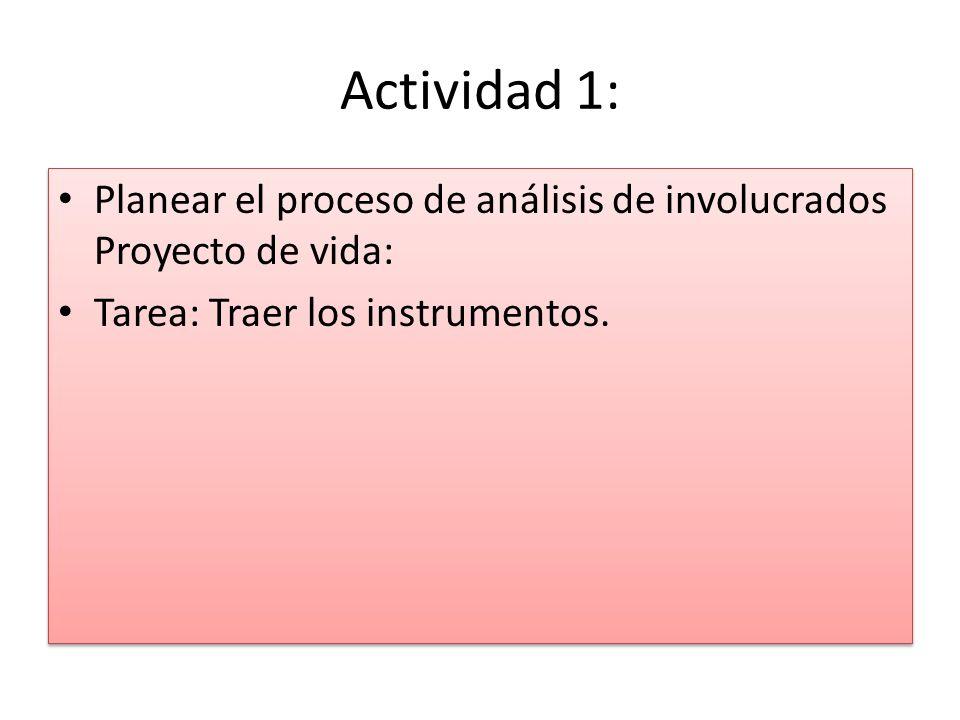 Actividad 1: Planear el proceso de análisis de involucrados Proyecto de vida: Tarea: Traer los instrumentos. Planear el proceso de análisis de involuc