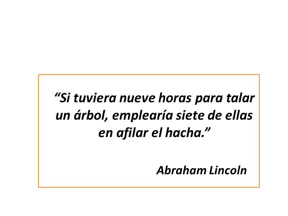 Si tuviera nueve horas para talar un árbol, emplearía siete de ellas en afilar el hacha. Abraham Lincoln