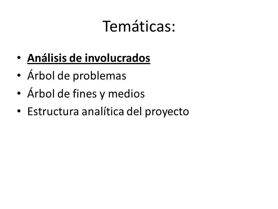 Temáticas: Análisis de involucrados Árbol de problemas Árbol de fines y medios Estructura analítica del proyecto