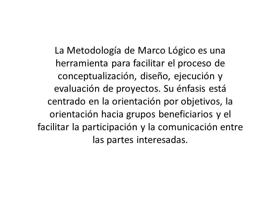 La Metodología de Marco Lógico es una herramienta para facilitar el proceso de conceptualización, diseño, ejecución y evaluación de proyectos. Su énfa
