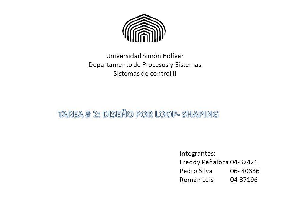Universidad Simón Bolívar Departamento de Procesos y Sistemas Sistemas de control II Integrantes: Freddy Peñaloza 04-37421 Pedro Silva 06- 40336 Román