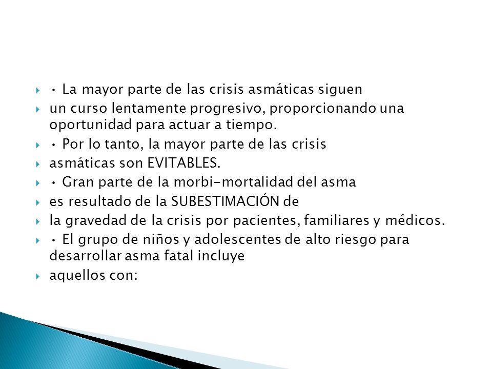 La mayor parte de las crisis asmáticas siguen un curso lentamente progresivo, proporcionando una oportunidad para actuar a tiempo.