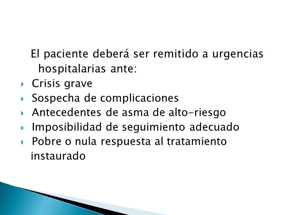 El paciente deberá ser remitido a urgencias hospitalarias ante: Crisis grave Sospecha de complicaciones Antecedentes de asma de alto-riesgo Imposibilidad de seguimiento adecuado Pobre o nula respuesta al tratamiento instaurado