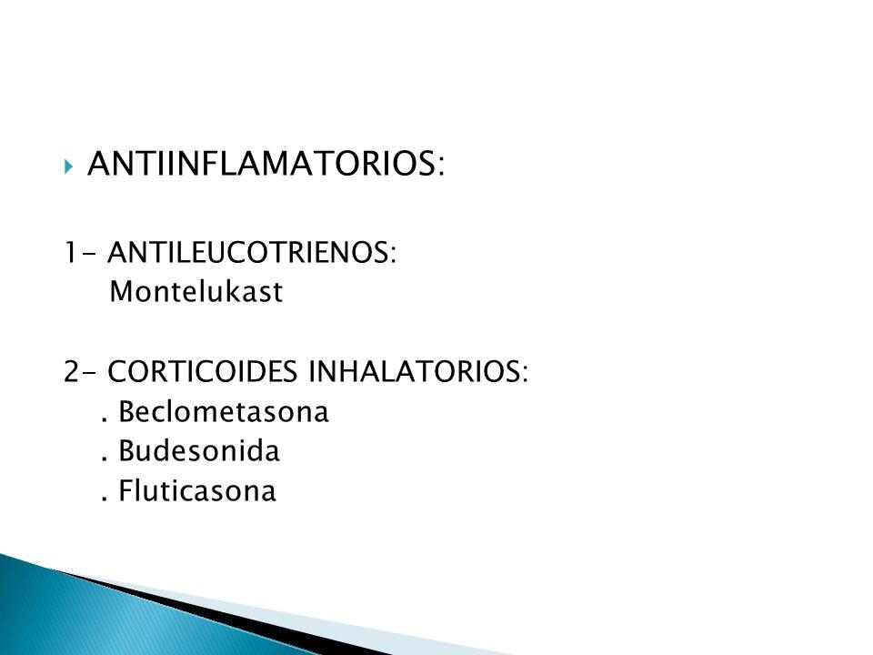 ANTIINFLAMATORIOS: 1- ANTILEUCOTRIENOS: Montelukast 2- CORTICOIDES INHALATORIOS:.
