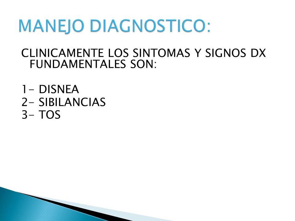 CLINICAMENTE LOS SINTOMAS Y SIGNOS DX FUNDAMENTALES SON: 1- DISNEA 2- SIBILANCIAS 3- TOS