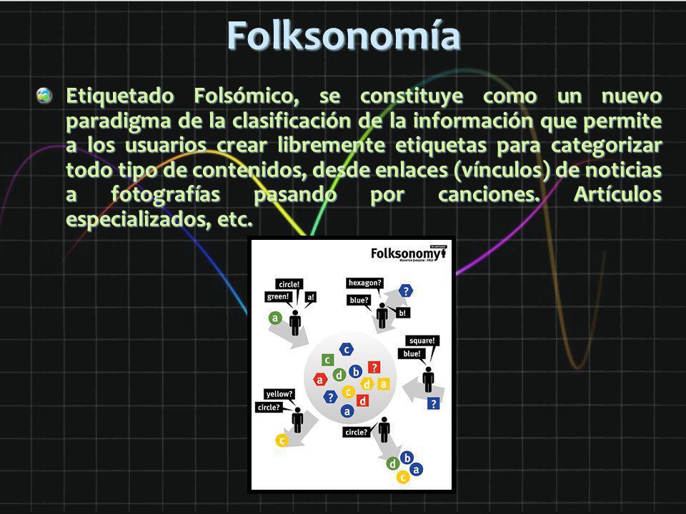 Folksonomía Etiquetado Folsómico, se constituye como un nuevo paradigma de la clasificación de la información que permite a los usuarios crear libreme