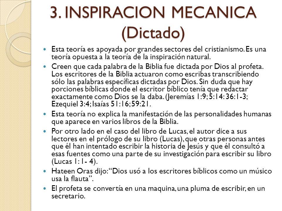 2. INSPIRACION PARCIAL La inspiración parcial es la afirmación de que solamente algunas secciones de la Biblia han sido inspiradas. Es decir que las s