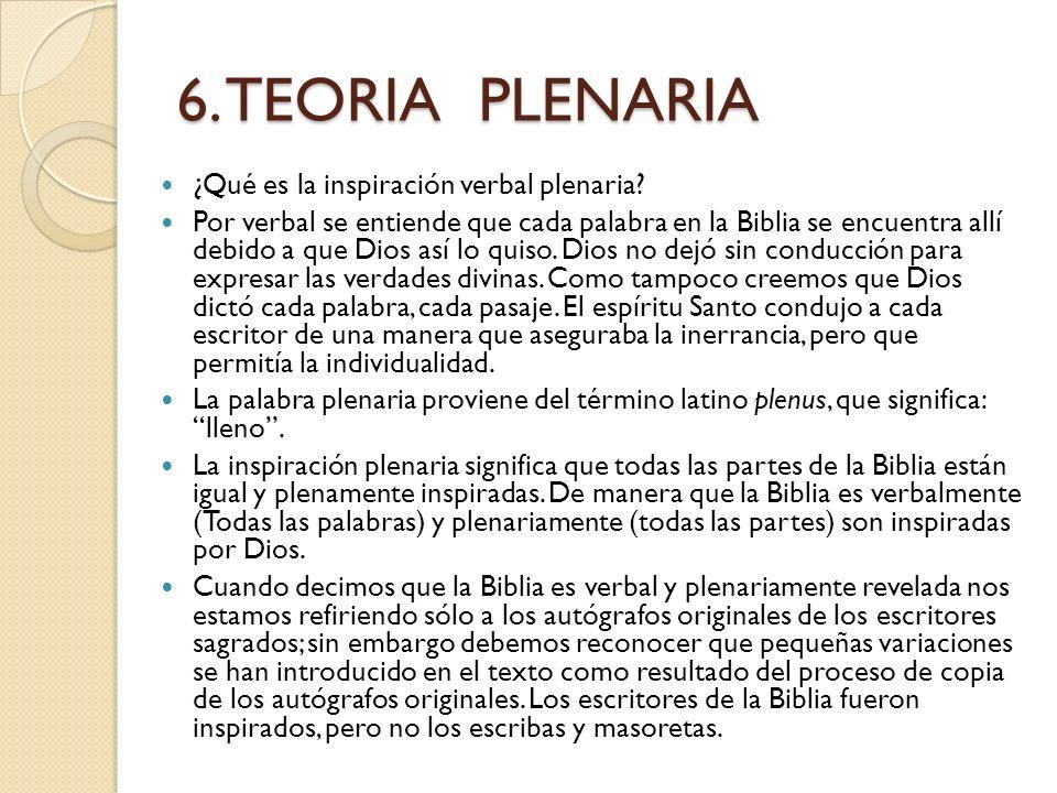 5. TEORÍA DINÁMICA (Inspiración de pensamientos) La postura de esta teoría es que el Espíritu Santo simplemente dio a los escritores de la Biblia el p