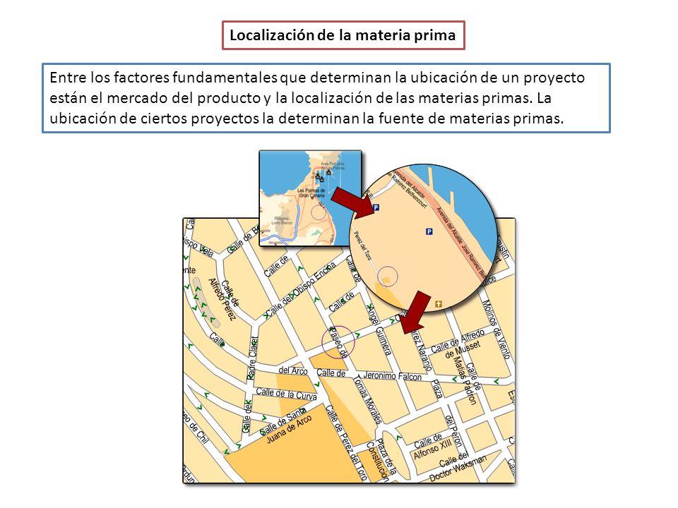 Localización de la materia prima Entre los factores fundamentales que determinan la ubicación de un proyecto están el mercado del producto y la localización de las materias primas.