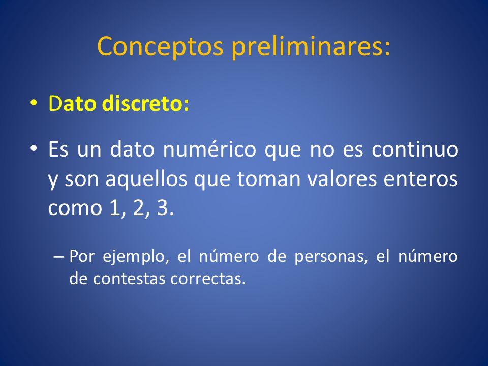 Conceptos preliminares: Dato cualitativo: Se obtiene cuando se mide, por ejemplo, opinión, preferencia, color, etc..