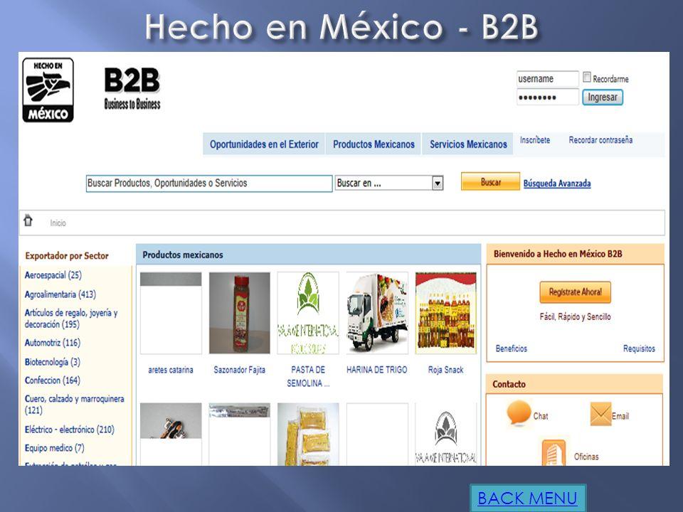 http://www.promexico.gob.mx/es_us/prom exico/Hecho_Mexico_B2B http://www.mastermagazine.info/termino/ 3984.php http://www.slideshare.net/sudatec/ecom merce-ebusiness http://www.fce.unl.edu.ar/ecommerce/int ro2.htm www.monografias.com/trabajos18/ e - commerce / e - commerce.shtml