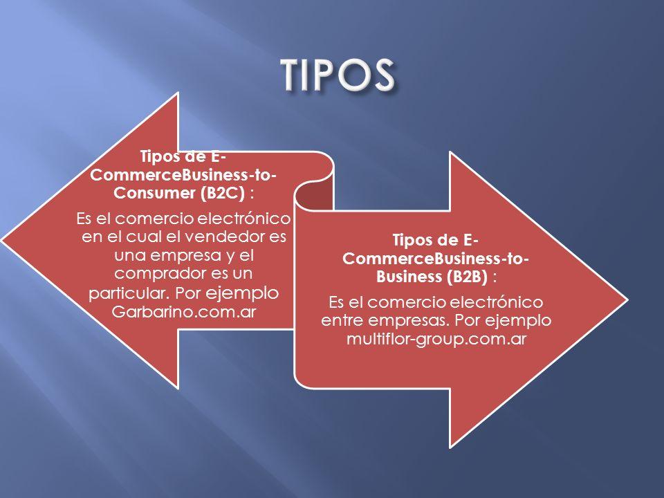 Tipos de E- CommerceConsumer- to-Consumer (C2C) : Es el comercio electrónico entre consumidores finales.