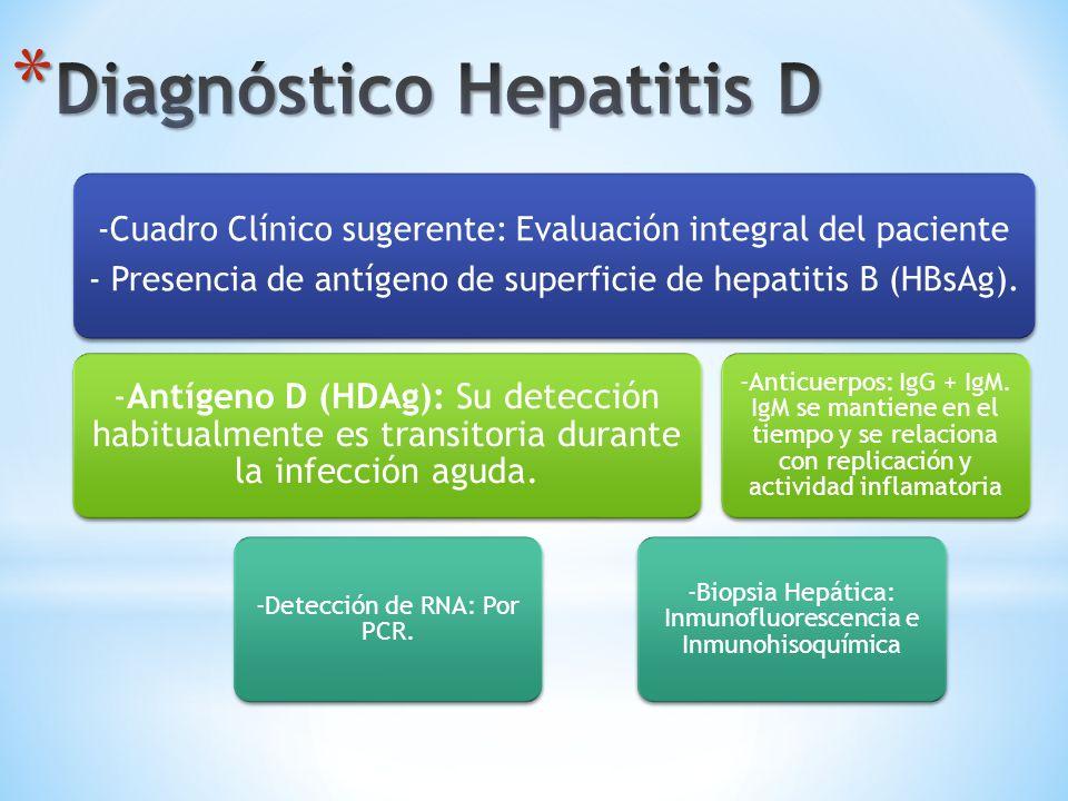 -Cuadro Clínico sugerente: Evaluación integral del paciente - Presencia de antígeno de superficie de hepatitis B (HBsAg). -Antígeno D (HDAg): Su detec