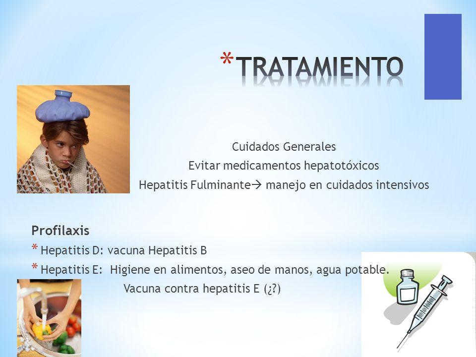 Cuidados Generales Evitar medicamentos hepatotóxicos Hepatitis Fulminante manejo en cuidados intensivos Profilaxis * Hepatitis D: vacuna Hepatitis B *