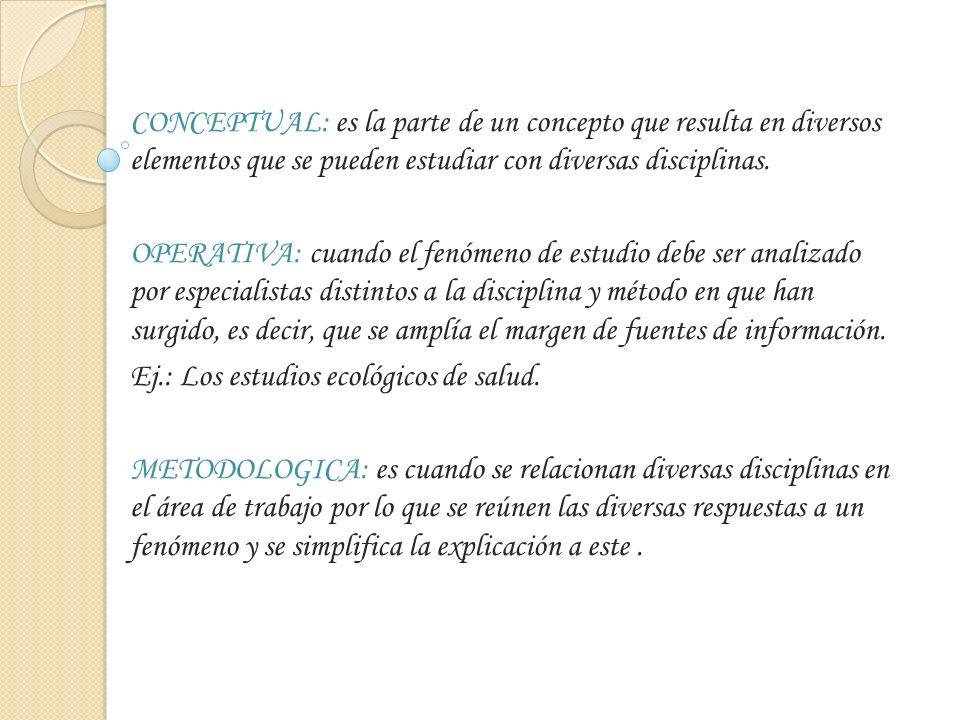 CONCEPTUAL: es la parte de un concepto que resulta en diversos elementos que se pueden estudiar con diversas disciplinas. OPERATIVA: cuando el fenómen