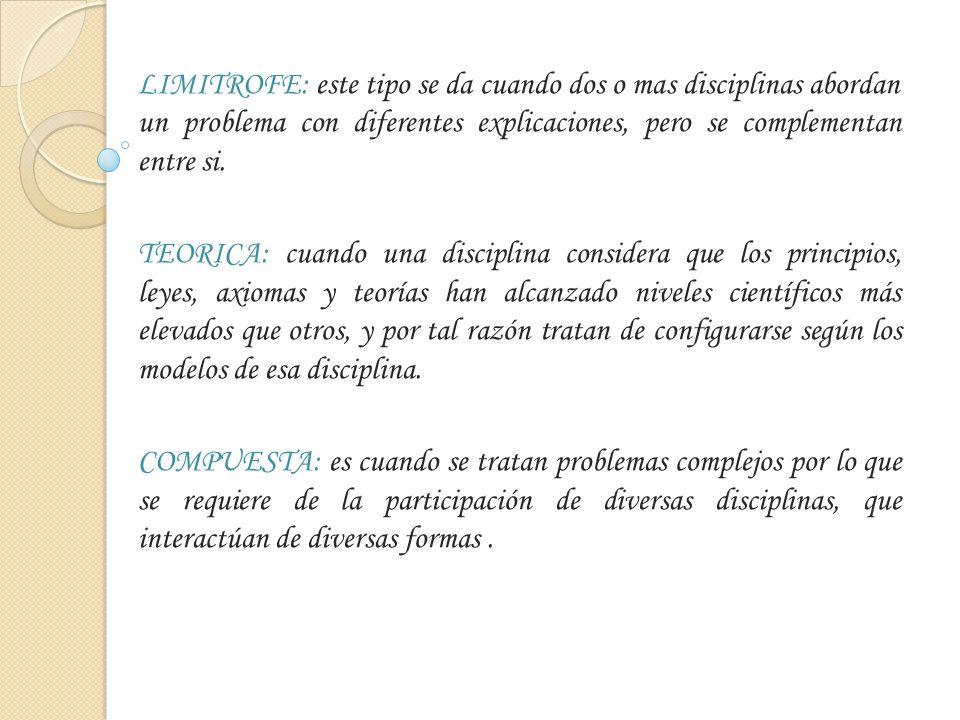LIMITROFE: este tipo se da cuando dos o mas disciplinas abordan un problema con diferentes explicaciones, pero se complementan entre si. TEORICA: cuan