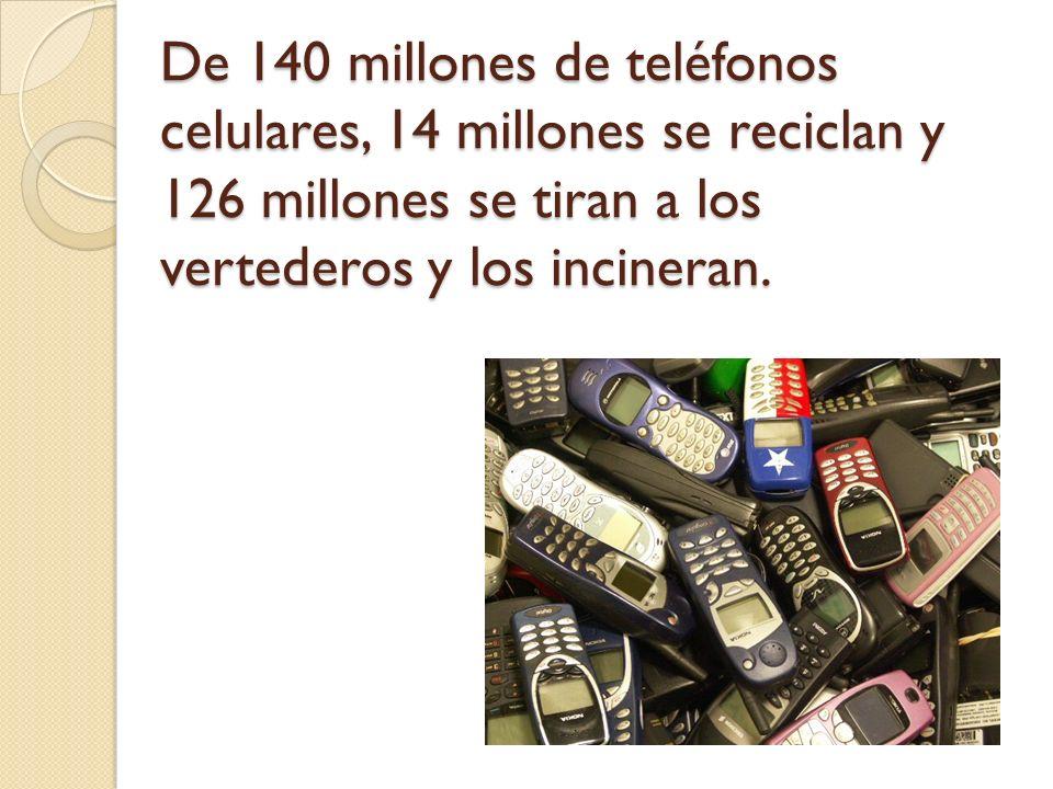 De 140 millones de teléfonos celulares, 14 millones se reciclan y 126 millones se tiran a los vertederos y los incineran.